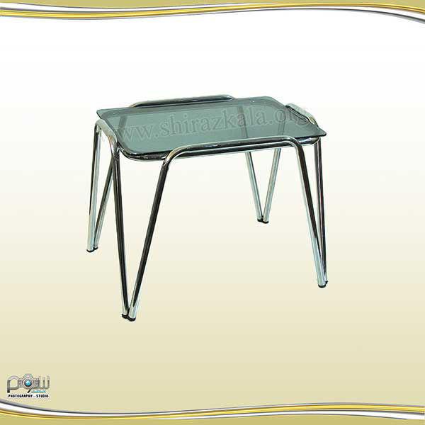 میز عسلی پایه ثابت با شیشه سکوریت دودی
