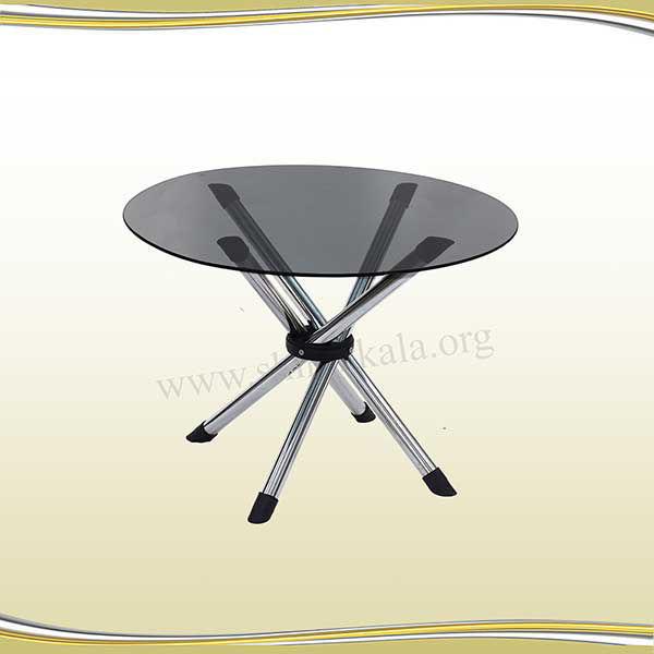 میز عسلی پایه تلسکوپی با شیشه سکوریت گرد دودی