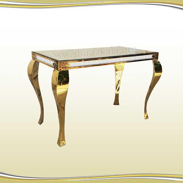 تصویر میز کوئین فلزی طلایی سایز 120*60