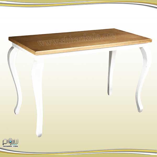 تصویر میز کوئین سفید با صفحه طلایی