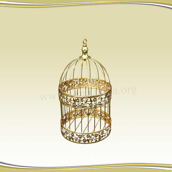 تصویر قفس طلایی طرحدار بزرگ