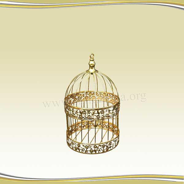 تصویر قفس طلایی طرحدار کوچک