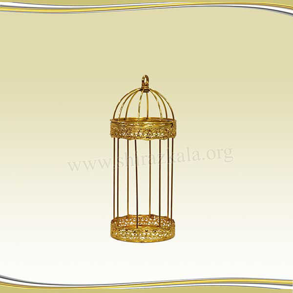 تصویر قفس طلایی طرحدار باریک